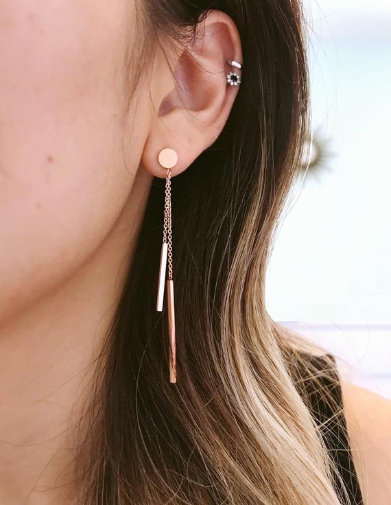 gold  twisted bar earrings for everyday. Bar dangle Earrings