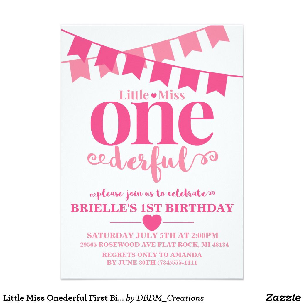 Little Miss Onederful First Birthday Invitation Birthdays And - Birthday invitation in japanese