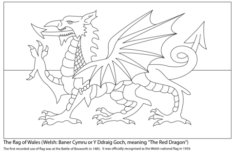 Flag Of Wales Coloring Page Flag Coloring Pages Welsh Flag Wales Flag