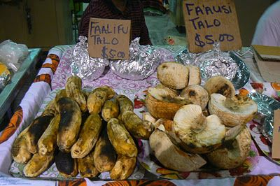 Roasted banana and breadfruit.