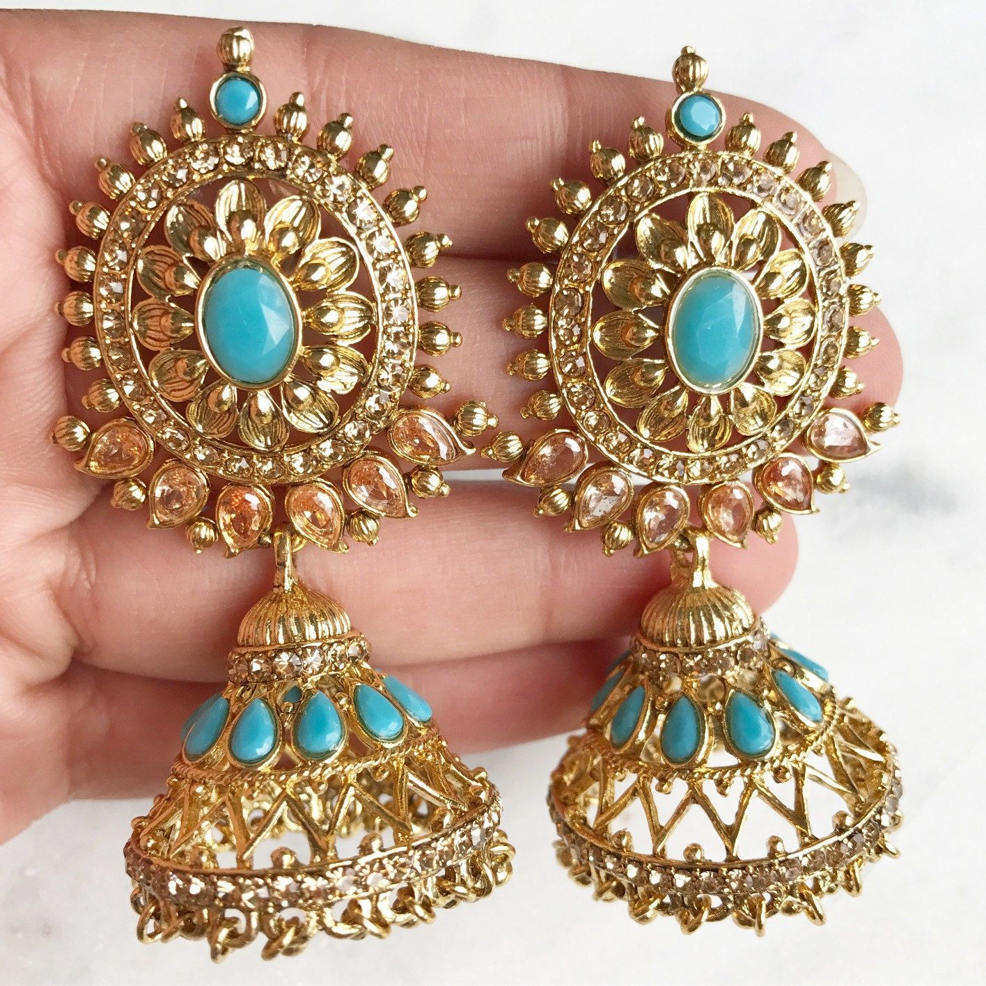 Sunny Indian Bollywood Gold Plated Blue Kundan Meenakari Earring Women Wedding Jewelr Soft And Light Costume Jewellery