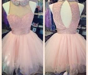 Light Pale Pink Homecoming Dress,Baby Pink Prom Gown,Hot Homecoming Gowns,Sweet 16 Dress,Cheap Homecoming Dresses,Lace Evening Dress