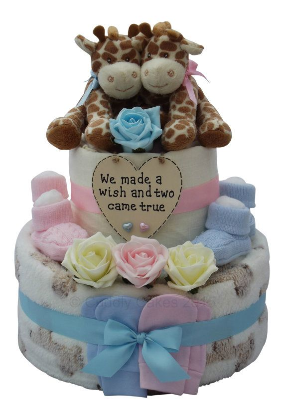 Boy and girl twin diaper cake