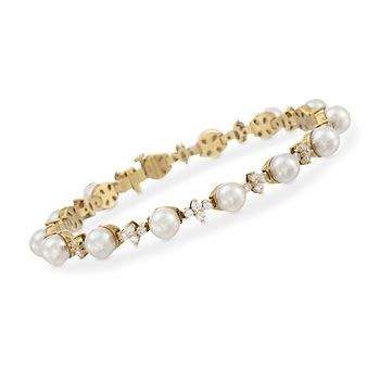 C 1990 Vintage Tiffany Jewelry Pearl and Diamond Bracelet In 18kt