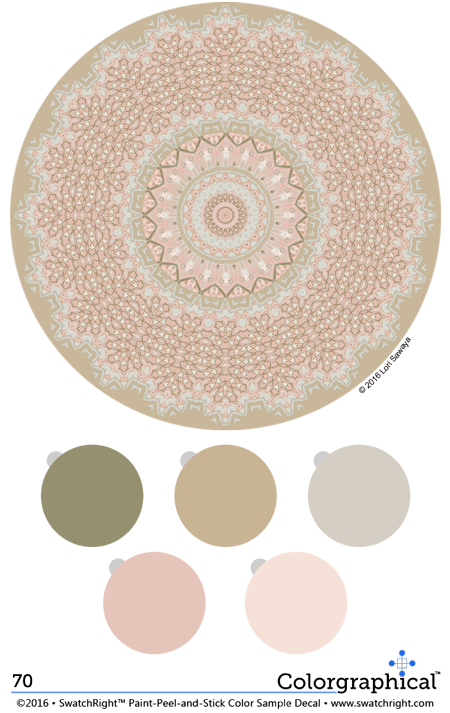Color inspiration 70 using the #SherwinWilliams Color palette. Color schemes featured on paint-peel-and-stick color sample decals from Swatch Right™. #paint #color #beige #neutral #cream #sage #green #pink www.swatchright.com