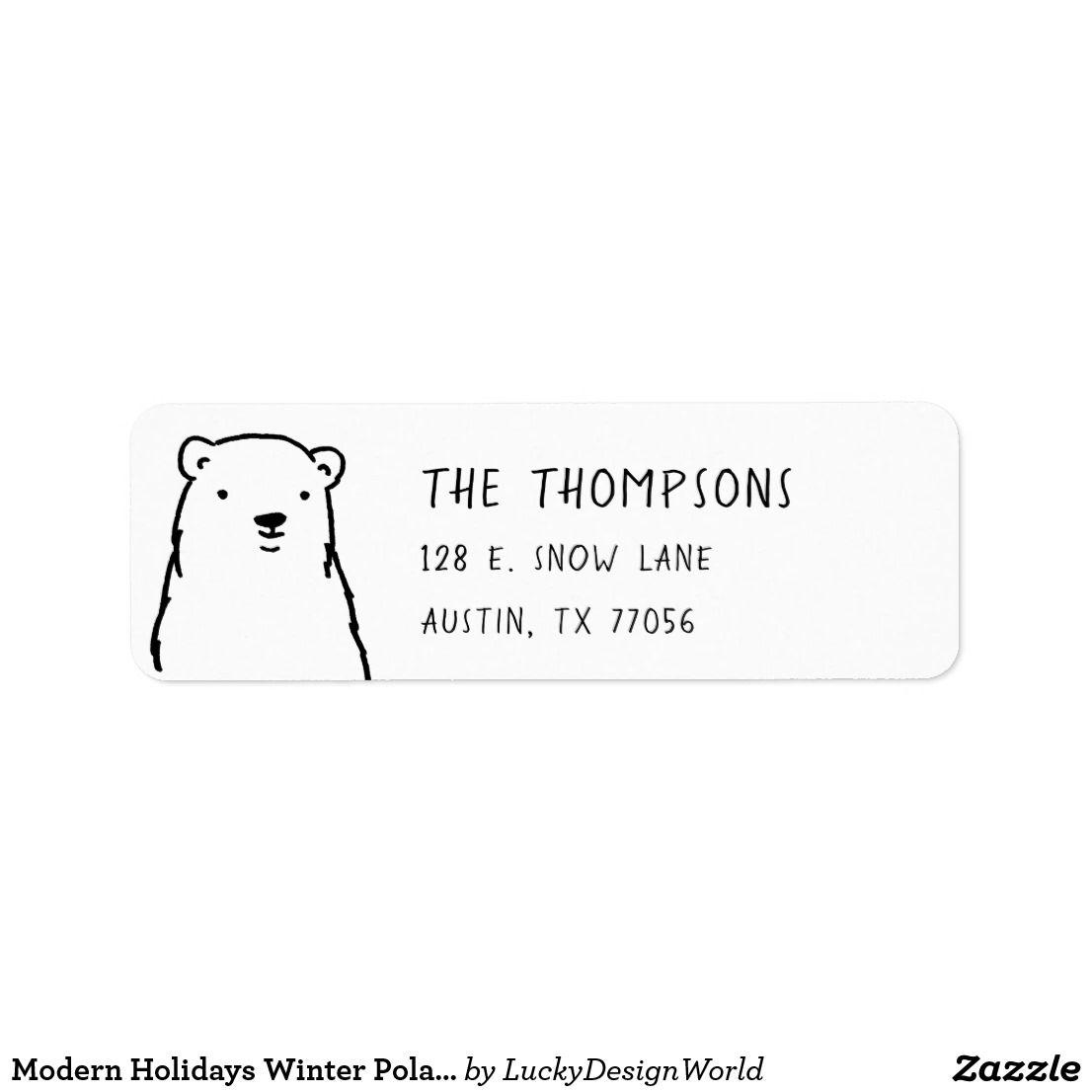 modern holidays winter polar bear return address label christmas