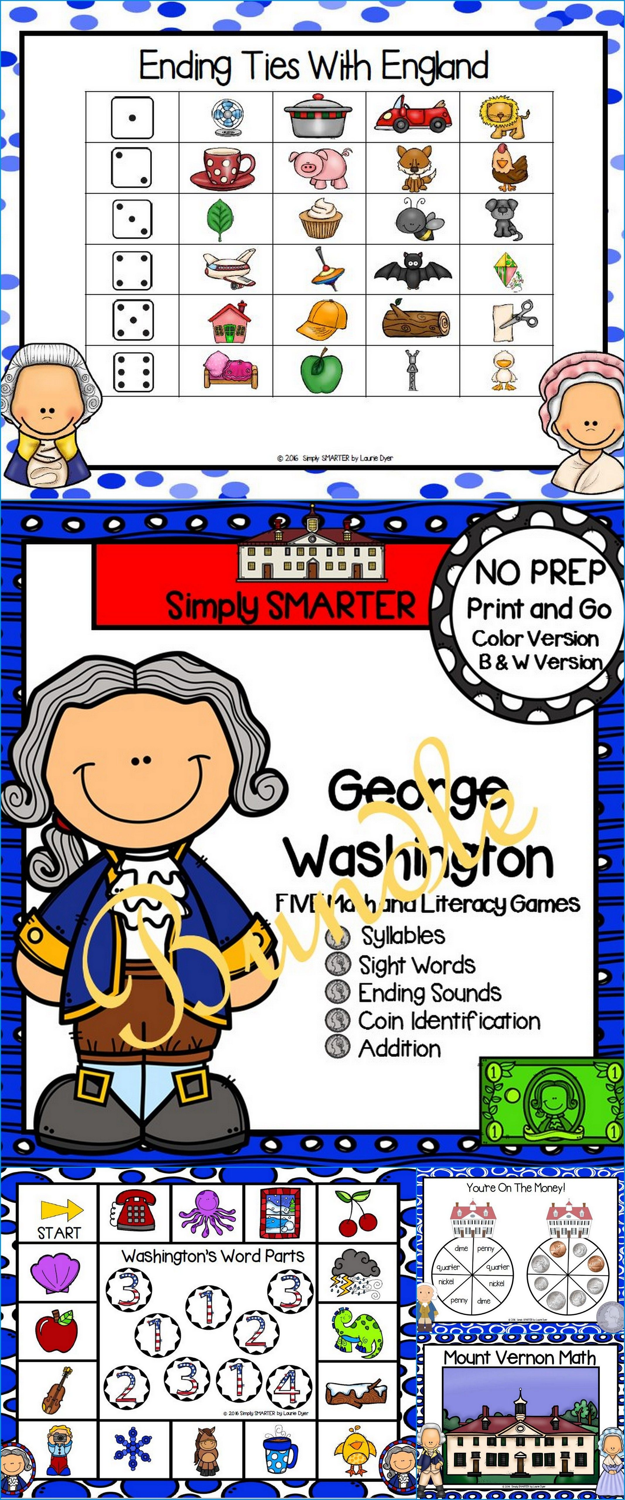 No Prep George Washington Themed Math And Literacy Games