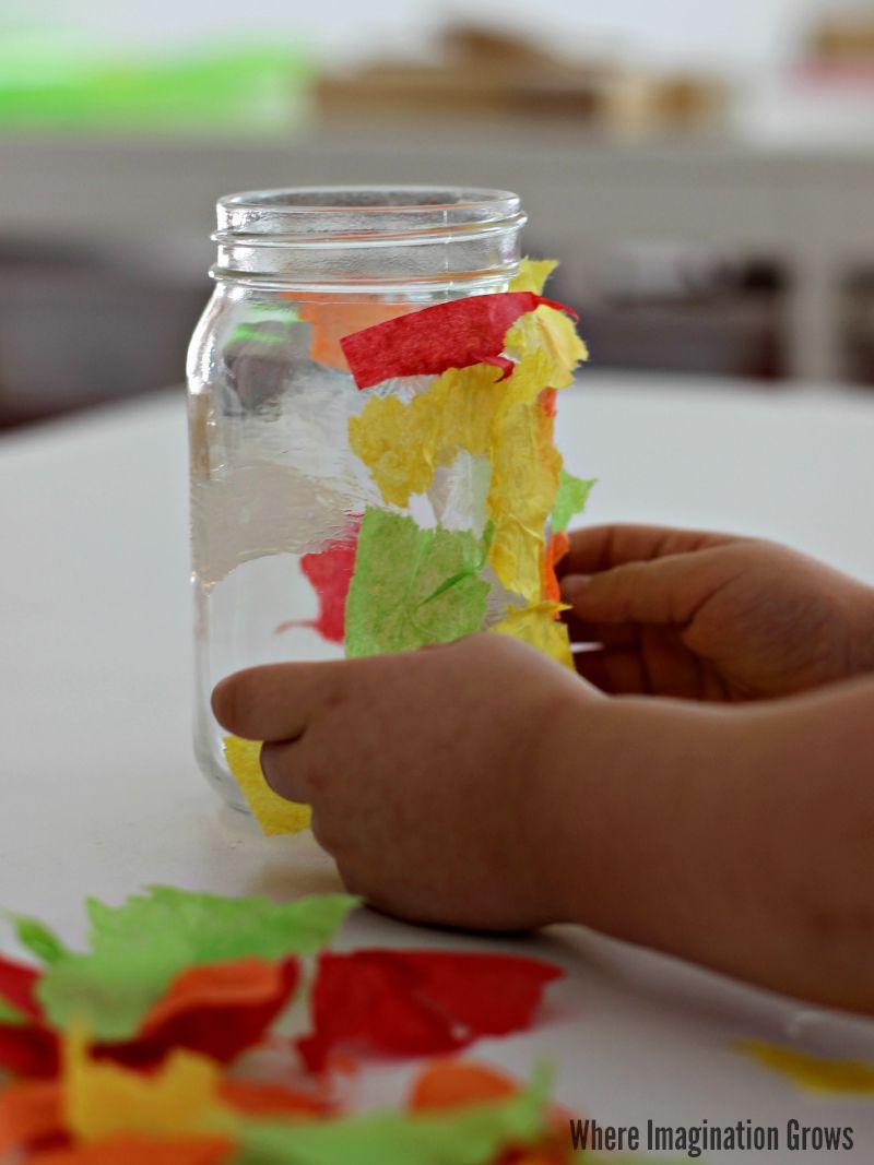 Fall Tree Mason Jar Luminaries Craft   Mason jar candles, Candle holder crafts, Mason jars