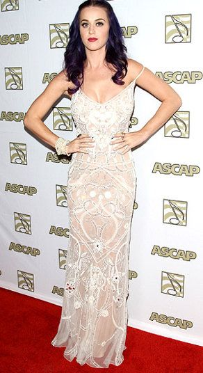 """Katy Perry is often more whimsical than stylish, but earlier this year the """"Wide Awake"""" singer went glam in a sheer ivory design from Temperley London. Oct 24/12"""