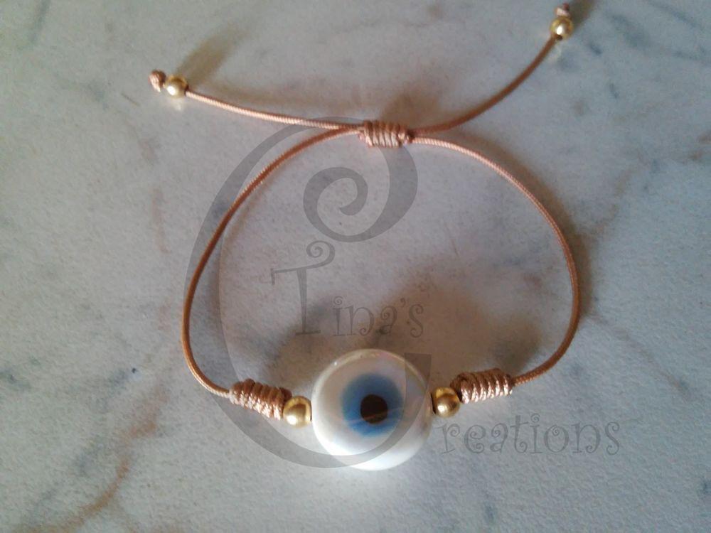 White porcelain evil eye bracelet brown cord tinas creation 15cm/5.9 inch…
