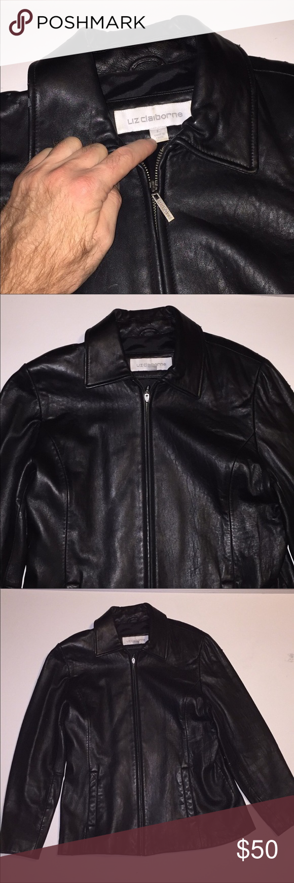 Liz Claiborne Genuine Black Leather Jacket Large Leather Jacket Black Leather Jacket Black Leather