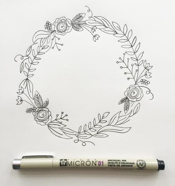 Simple Steps For Drawing A Wreath Wreath Drawing Bullet Journal Inspiration How To Draw Hands