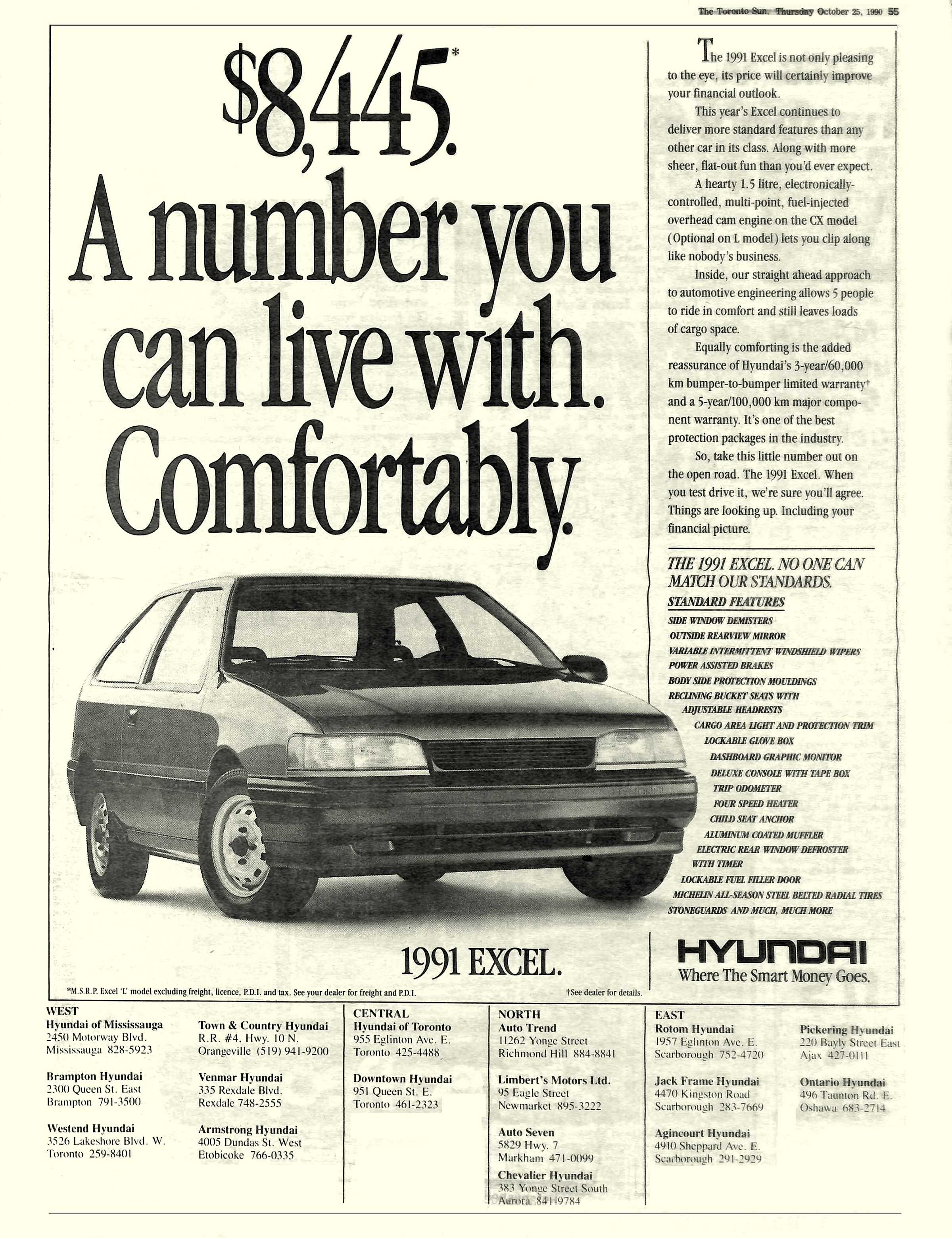 Hyundai Excel Newspaper Ad 1990 Agency Backer Spielvogel Bates