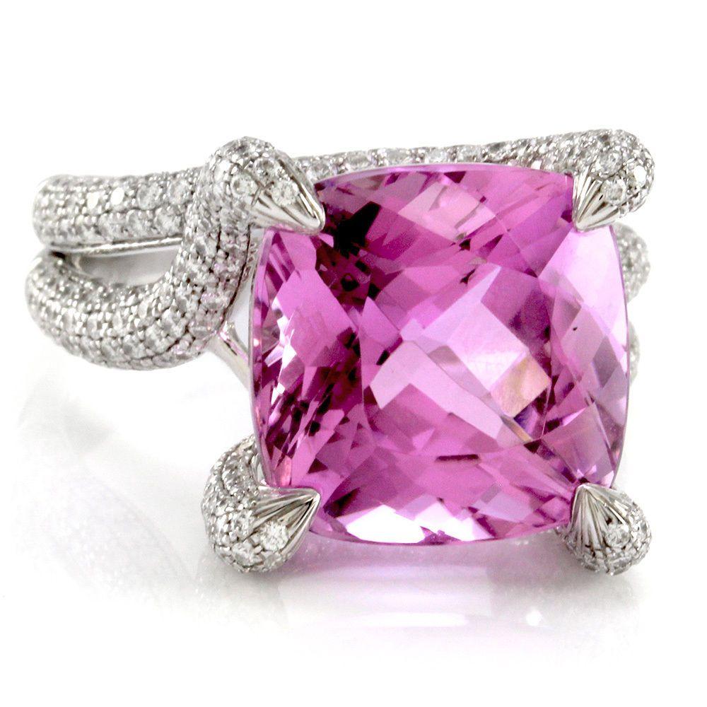 SIMON G Kunzite & Pave Diamond Ring in 18K White Gold | FJ TXX ...