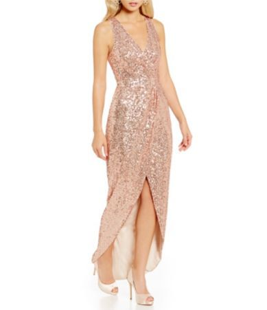 Shop for Belle Badgley Mischka V-Neck Sleeveless All Over Sequin High Low Gown at Dillards.com. Visit Dillards.com to find clothing, accessories, shoes, cosmetics & more. The Style of Your Life.