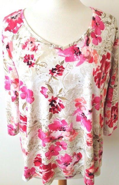 1579b67772eab Karen Scott Plus Size 3X Top Cotton Poly Stretch 3 4 Sleeves Pink Beige  Print…