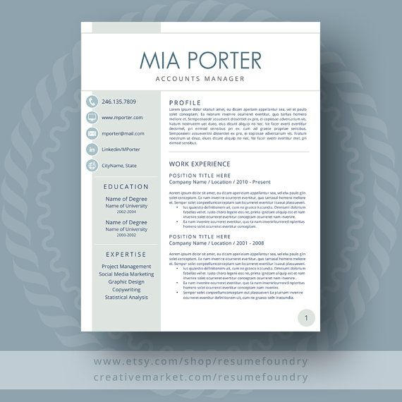 resume template instant download  1