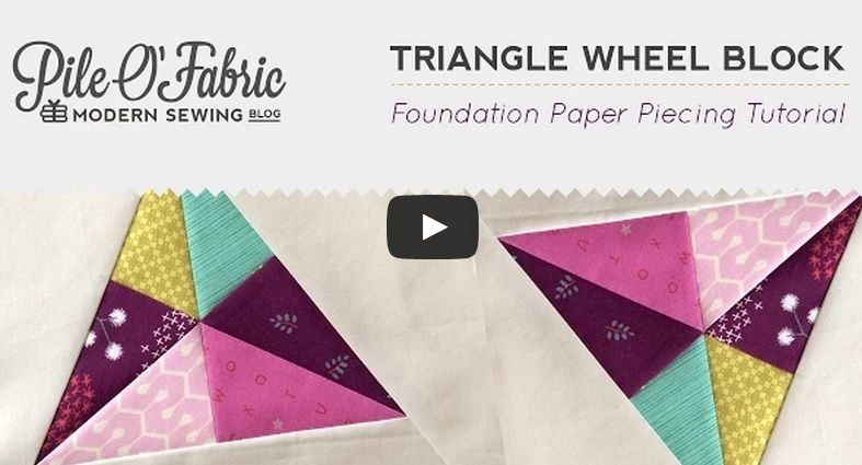 Foundation Paper Piecing the Triangle Wheel Block. Download free pattern here. For more information you can click here.