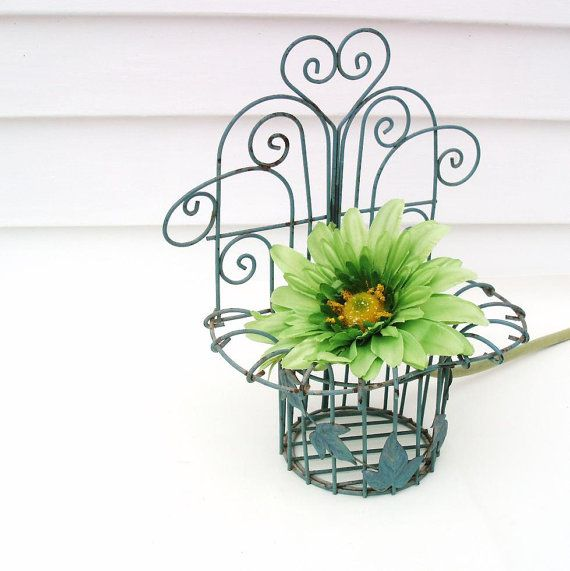 SOLD   Vintage Metal Planter Wall Hanging Wrought Iron By WhimzyThyme
