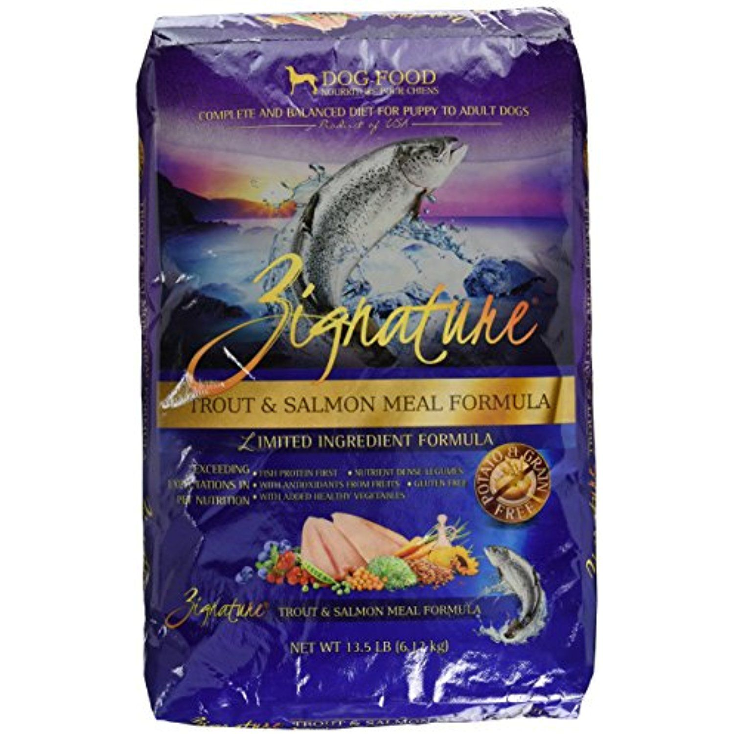 Zignature Dry Dog Food Trout And Salmon Meal Formula 13 5 Pound
