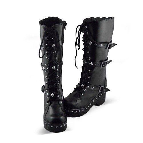 Black Buckles Lolita Boots | lolita boots | Pinterest | Stile ...