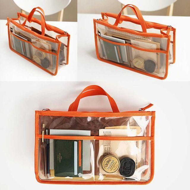 Travel Pvc Transparent Zipper Storage Bag Insert Handbag Organiser Dual In Makeup Organizer Cosmetics