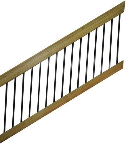 Best 6 Wood Stair Rail Kit For Round Aluminum Spindles Wood 400 x 300