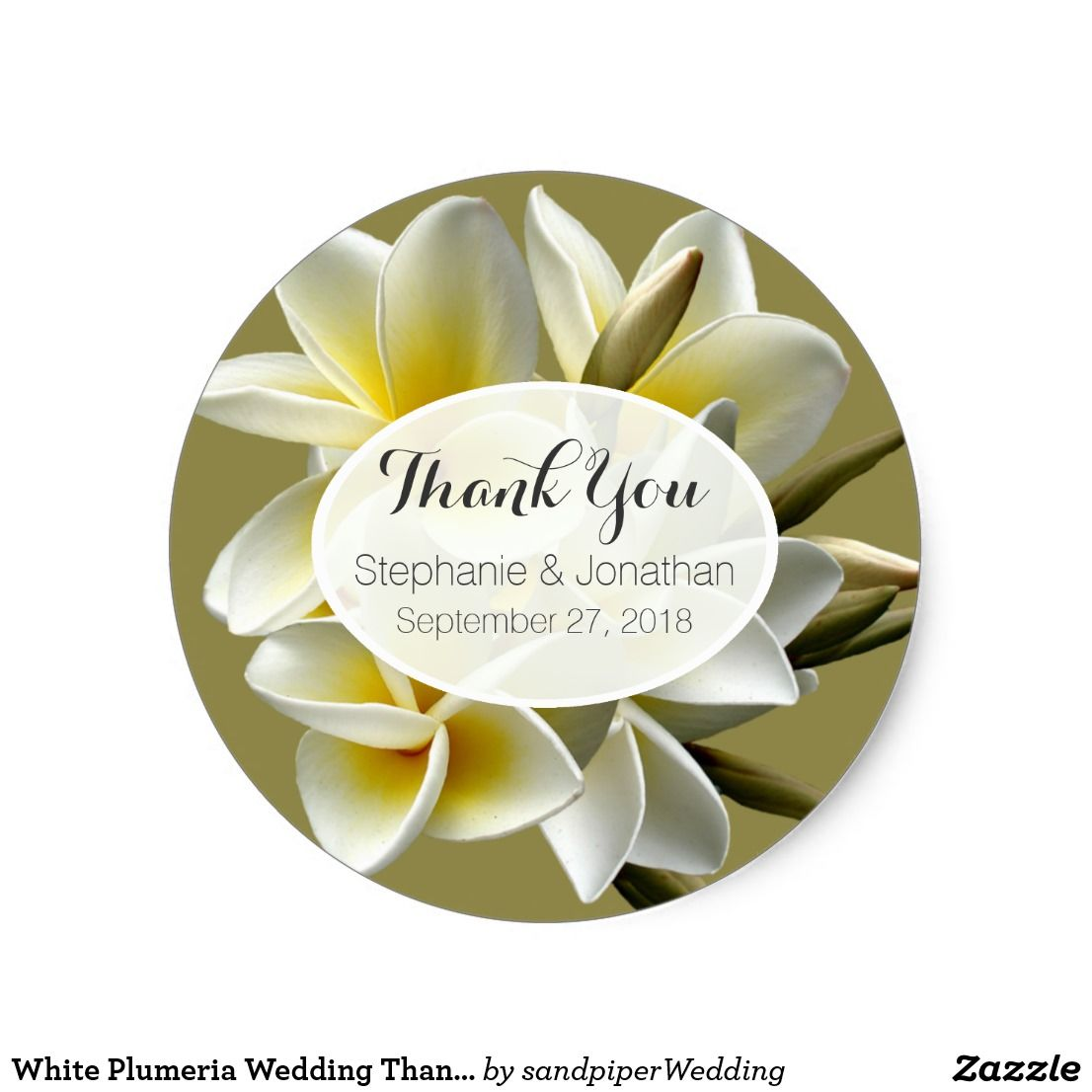 White Plumeria Wedding Thank You Favor Stickers | Favors and Wedding