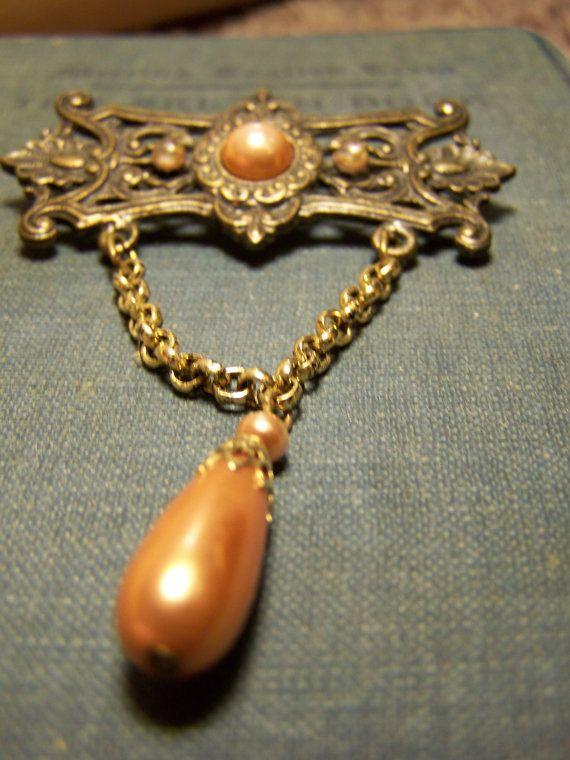 Brown brooch droplet brooch wedding brooch by BottomShelfBoutique, $10.00