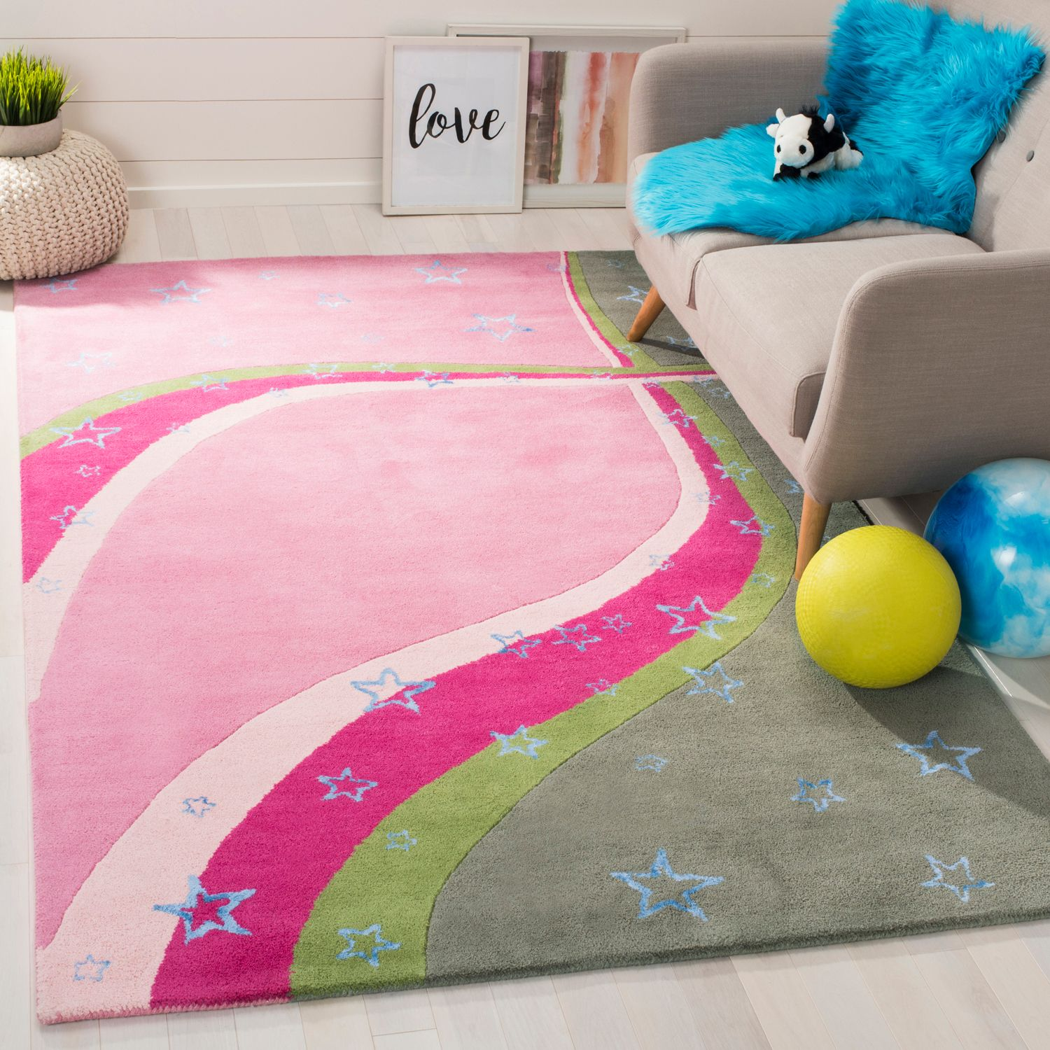 Pink & Green Swirl Kids Rug