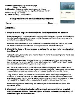 night elie wiesel complete printable student study questions with answer key elie wiesel. Black Bedroom Furniture Sets. Home Design Ideas