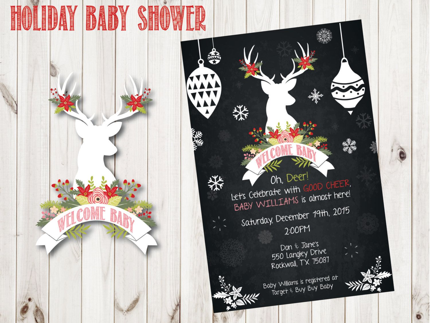 Oh, Deer, A Baby Shower Custom Christmas Party Invitation ...