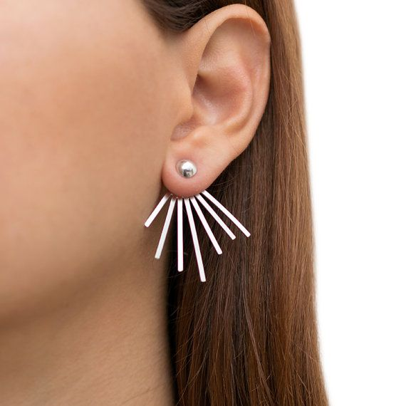Ear Jacket Earrings Pair Of Solid Sterling Silver Earring Jackets Double Sided Studs Front To Back Cuffs Spike