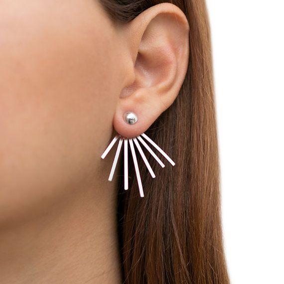 Ear Jacket Earrings Pair Of Solid Sterling Silver Earring Jackets Double Sided Studs