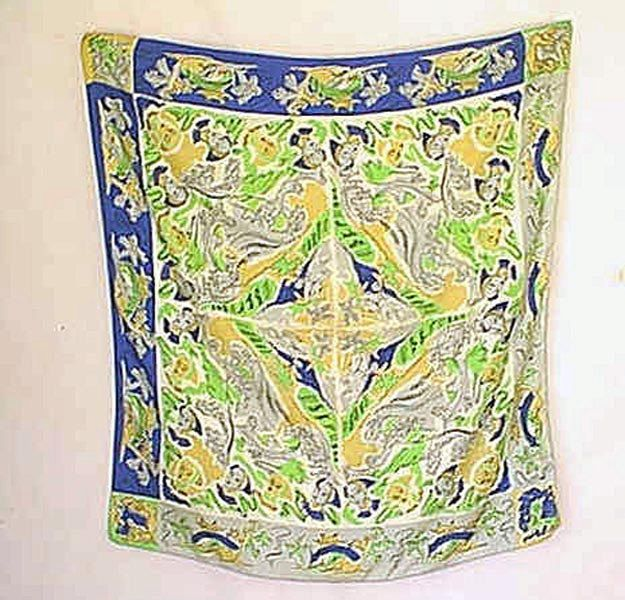 Vintage 1930s art deco oriental motif silk scarf women faces and pagodas by nouveauorleans on etsy