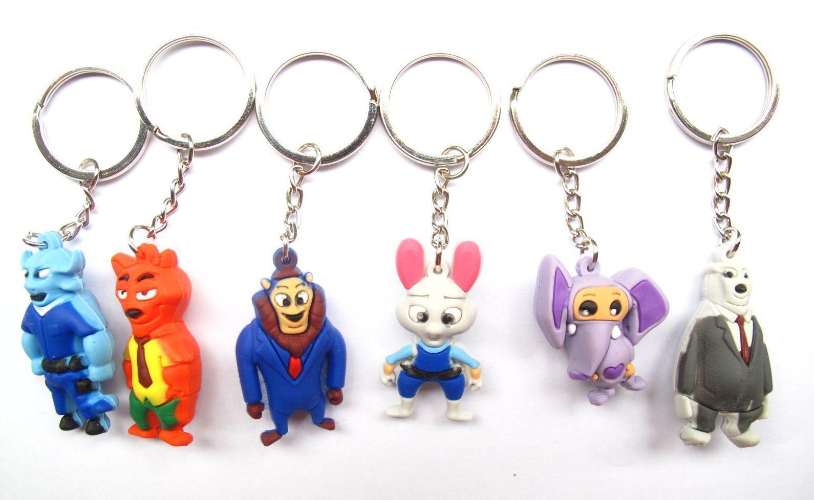 Toys cartoon images   Pcs D cartoon Zootopia animal mixed PVC Rubber Toys gift Key