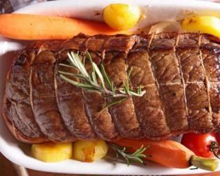 Rôti de bœuf dégraissé aux petits légumes