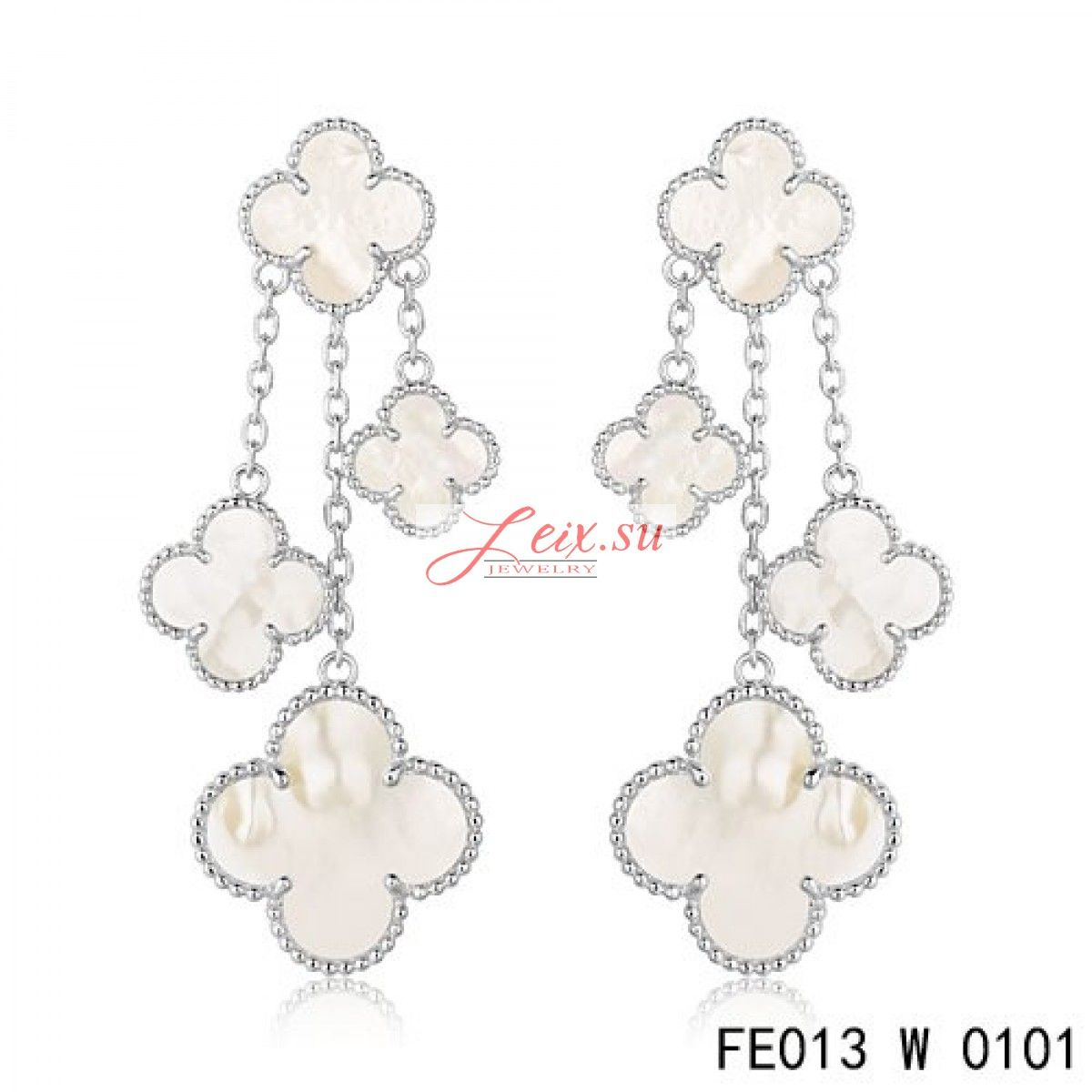 Van Cleef Arpels Replica White Gold Magic Alhambra Earrings Mother Of Pearl 4 Motifs