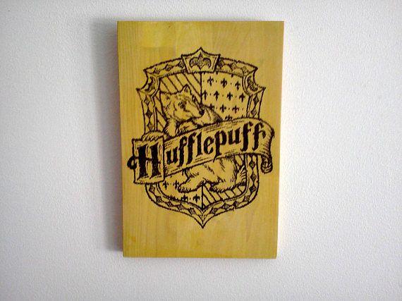 Hufflepuff Crest Wood Sign. Harry Potter Decoration. Wood Wall Art ...