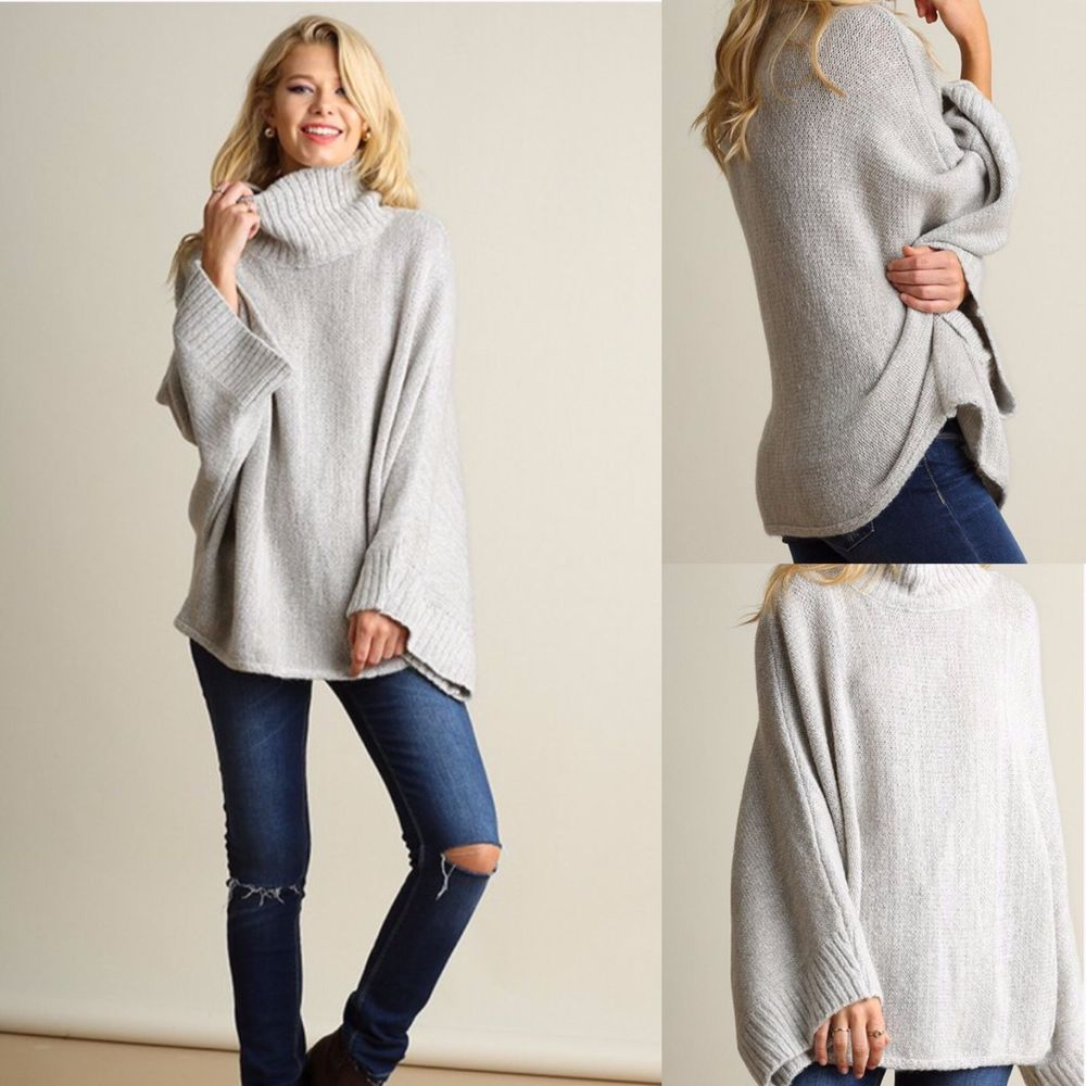 Umgee Grey Super Soft & Cozy Turtle Neck Knit Sweater with Bell Sleeves…