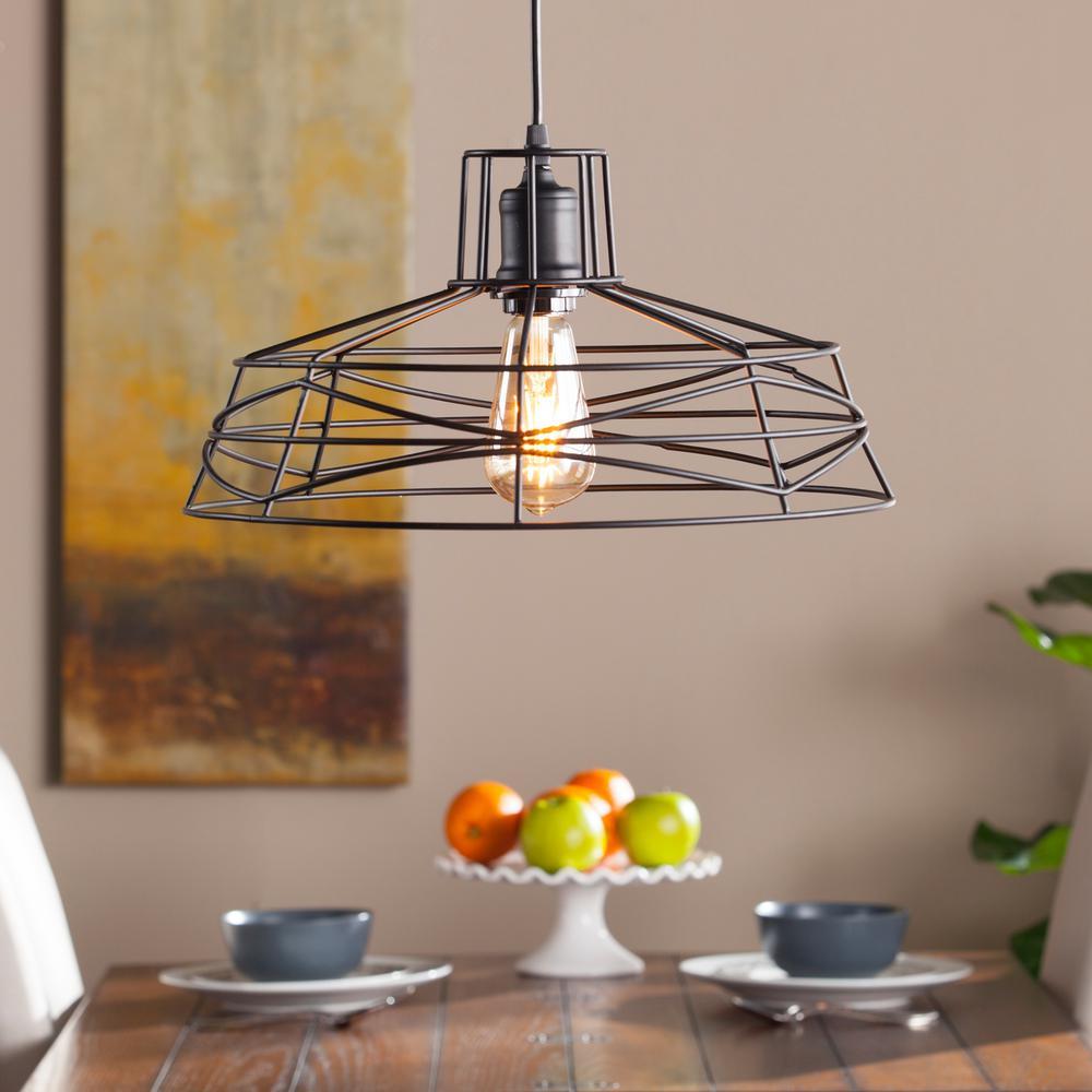 Attaway 1 Light Matte Black Wire Cage Pendant Lamp Hd88203 The Home Depot Pendant Lamp Black Pendant Lamp Cage Pendant Lamp
