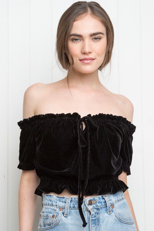Black t shirt dress brandy melville - Brandy Melville Ezra Velvet Top Velvet Pieces Clothing T Shirt