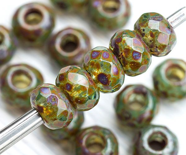 Czech Glass Fire Polished Roller Beads 6 mm black 20 pcs