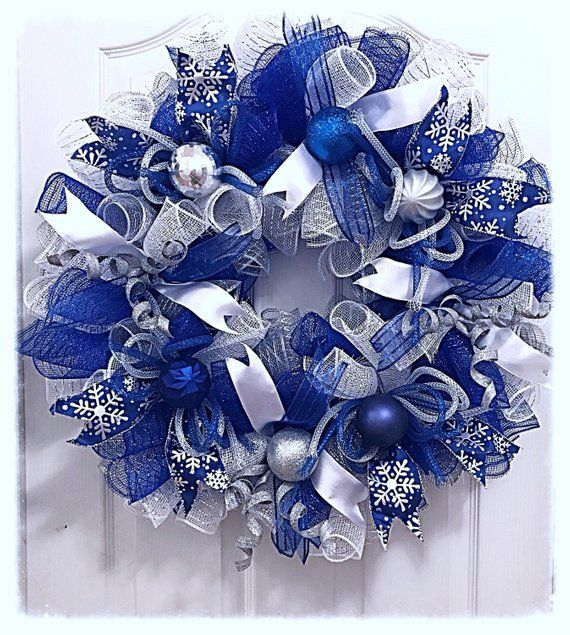 Christmas Blue and Silver Deco Mesh Wreath/Blue and Silver Deco Mesh Wreath/Christmas Wreath/Blue and Silver Christmas Wreath #decomeshwreaths
