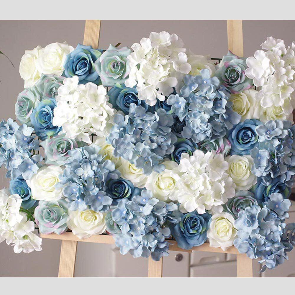 Summer Blue Rose Hydrangea Flower Wall Photo Backdrop Beach Wedding Artificial Flor In 2020 Flower Wall Wedding Blue Hydrangea Centerpieces Flower Backdrop Wedding