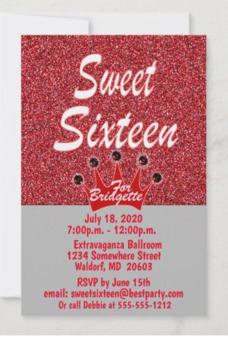 Red Glitter Sweet 16 Tiara Birthday Invitation (Customize it with your personal touch)
