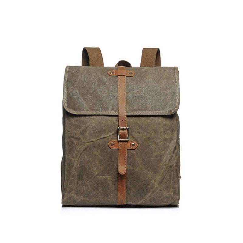 Luxury Canvas Leather Backpacks For Teenagers Waterproof Traveling Daypacks Vintage Students Rucksacks Retro Back Pack