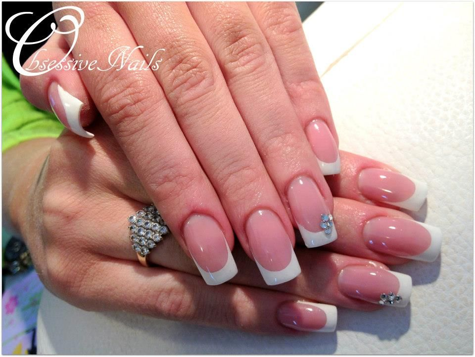 French, WHite tip Gel nails square :) | Nail designs | Pinterest ...
