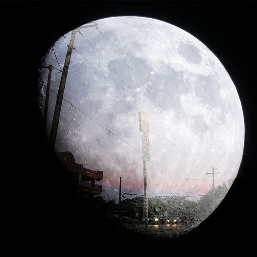 Double exposure: Dallas, Texas, and the moon. [Photo by oaphoto]