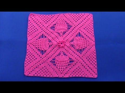 Cuadro tejido a ganchillo para colchas y cojines paso a - Colchas de crochet paso a paso ...
